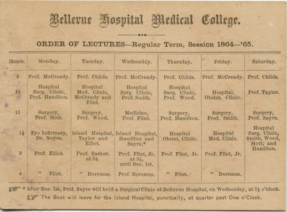 Faculty list for 1864-65 Bellevue Hospital (click to enlarge)