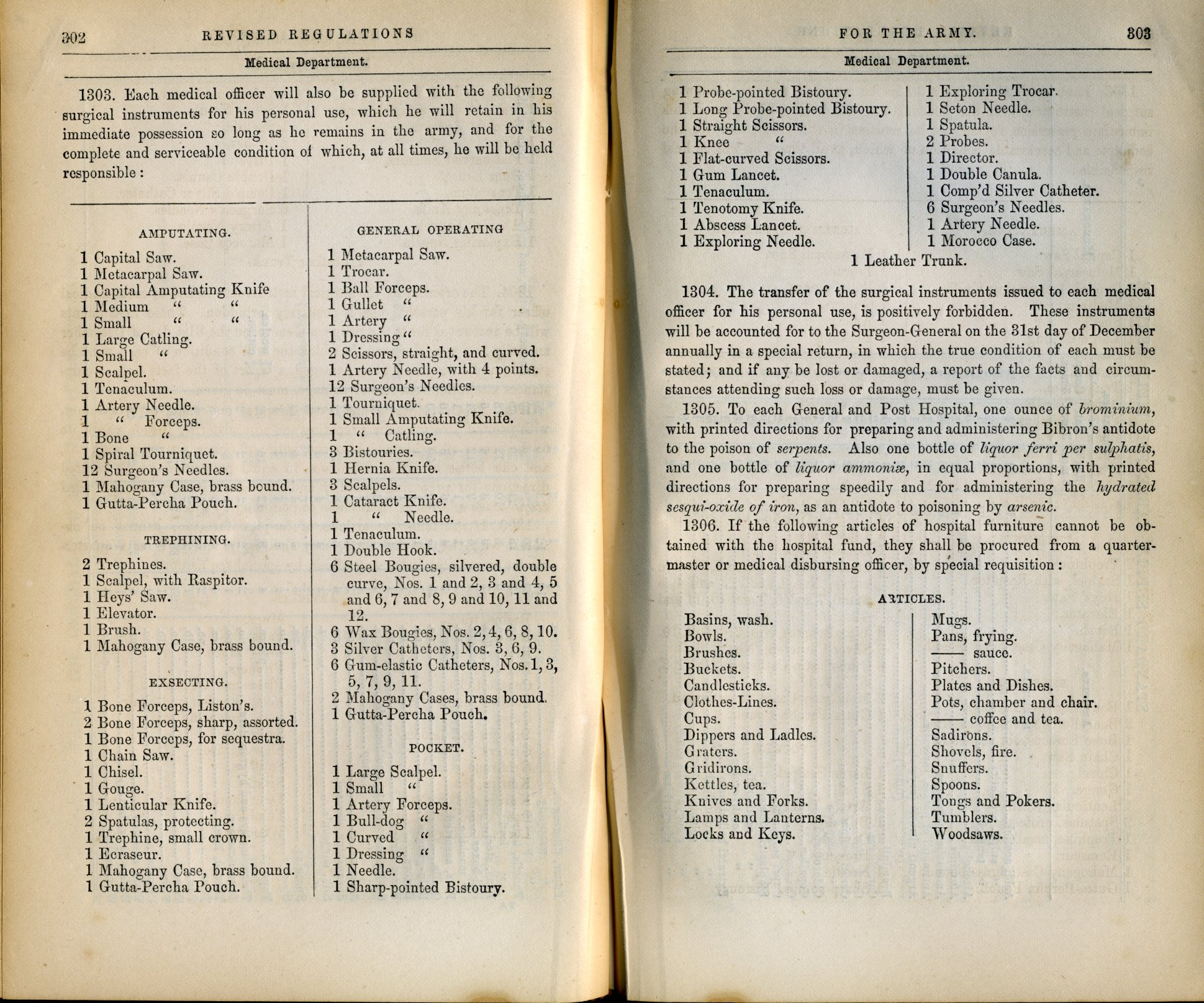 1861 Army supply table listing surgical instruments