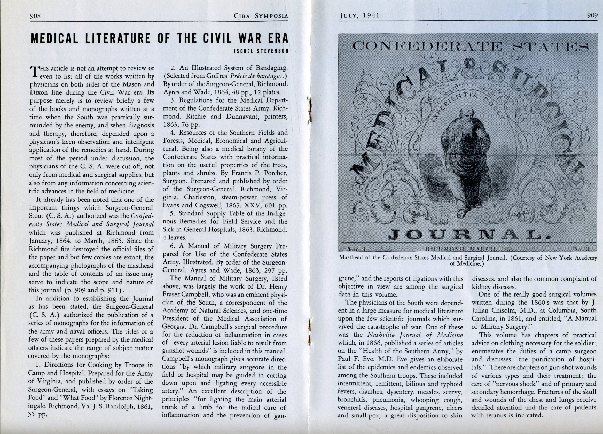 1841 Ciba article on medical education during the Civil War