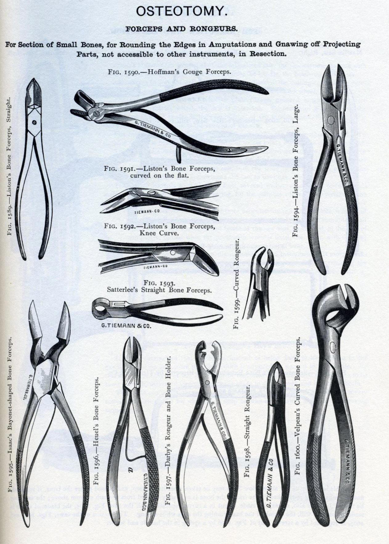 Bone Forceps Comparative Designs 1829 To 1886